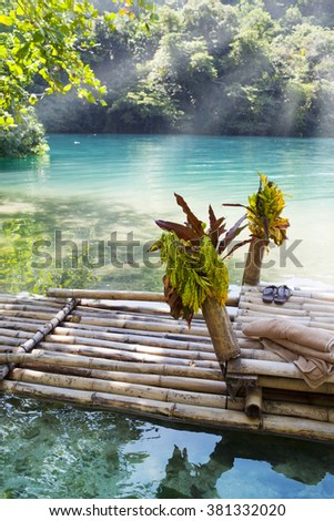 Raft on the bank of the Blue lagoon, Jamaica