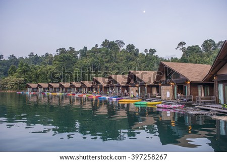 Raft residence floating over the river at Khao Sok National Park, Suratthani, Thailand.