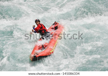 Rafting, extreme, team, sport, fun, active, relax. - stock photo
