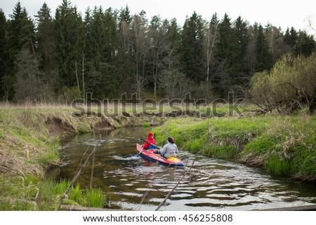 rafting, kayaking - stock photo