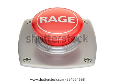 Rage Red Button, 3D rendering isolated on white background