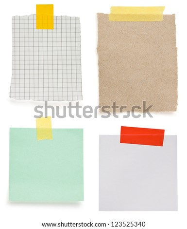 ragged note paper and stripe of adhesive tape isolated on white background