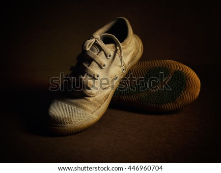 ragged sneakers on white background