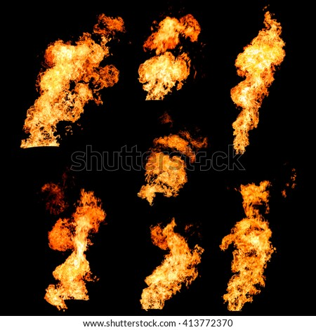 Raging fire tongues and spurts of flame texture photo set isolated on black background - stock photo