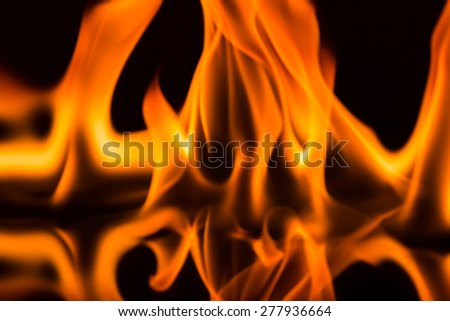 Raging flames on a black background