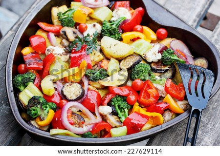 Ragout of vegetables baked in the oven - stock photo