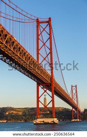 Rail bridge  over the Tagus river  in Lisbon, Portugal. - stock photo