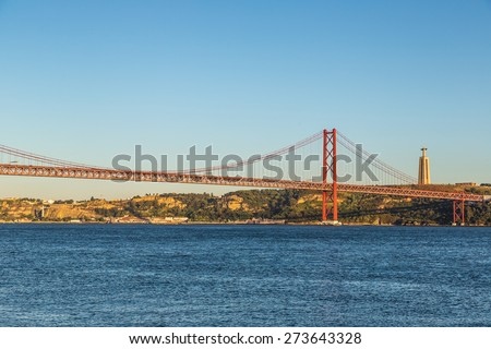 Rail bridge  over the Tagus river  in Lisbon, Portugal.