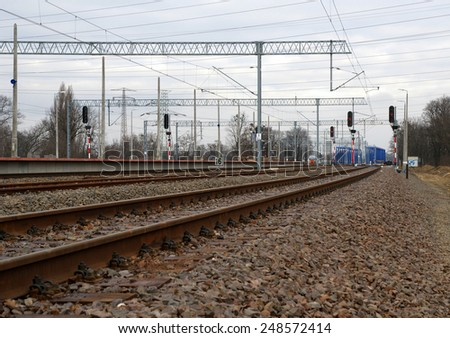 Rail infrastructure in Wroclaw, Poland - stock photo