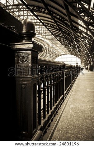 Rail road station - stock photo