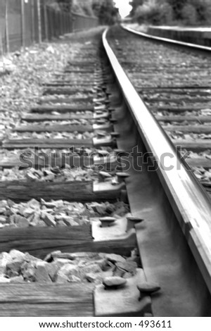 Rail road tracks. Black and white. Close-up - stock photo
