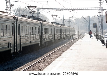 rail station in the snow - stock photo