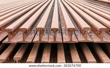 rail steel background - stock photo