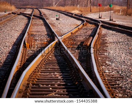 Rail switches in yard off mainline - stock photo
