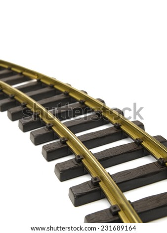 Rail track isolated on a white background - stock photo