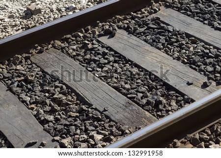 Rail tracks close-up - stock photo
