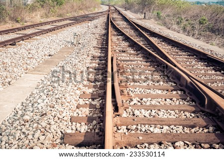 rail tracks ,line of railway crossing background  - stock photo