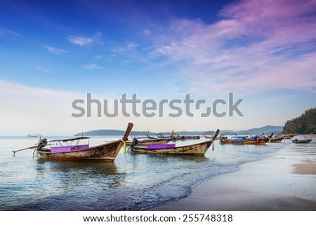Railay beach at sunset  in Krabi, Thailand - stock photo