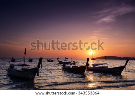 Railay beach at sunset  in Krabi, Thailand - stock photo
