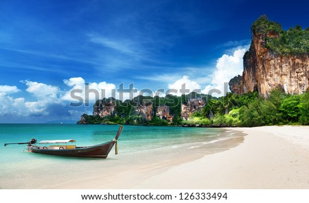 Railay beach in Krabi Thailand - stock photo