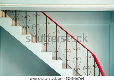 Railing Banister Stairs Down Curved Steel Vintage Style