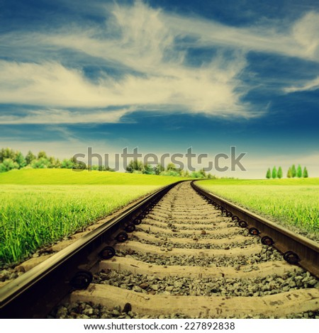 Railroad. Abstract rural landscape for your design - stock photo