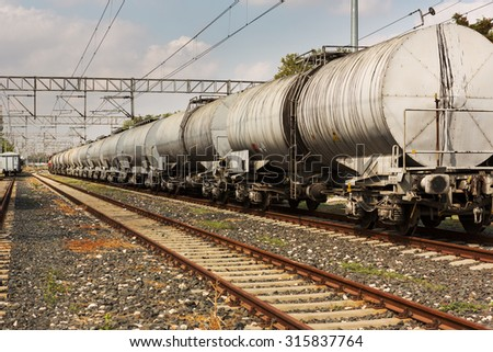 Railroad and train cargo cars  - stock photo