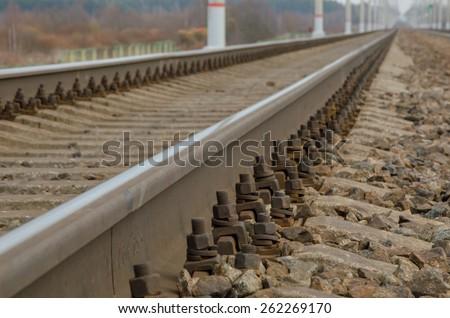 Railroad background - stock photo