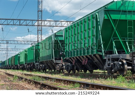 railroad car for dry cargo - stock photo