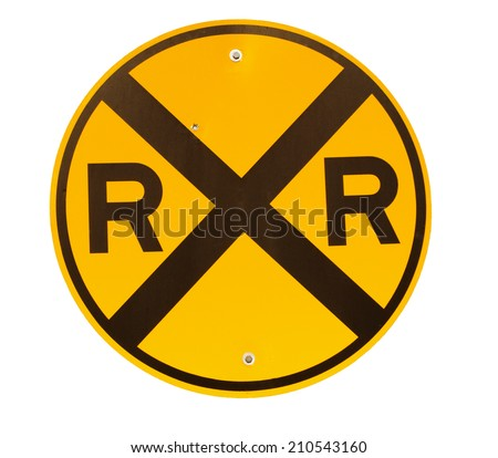 Railroad crossing sign isolated on white - stock photo