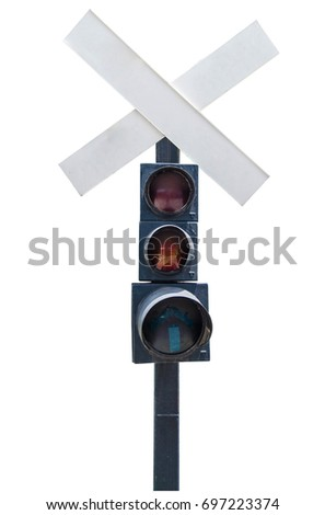 Railroad crossing sign on white background