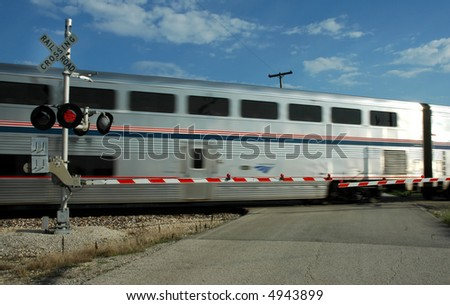 Railroad Crossing, Train - stock photo