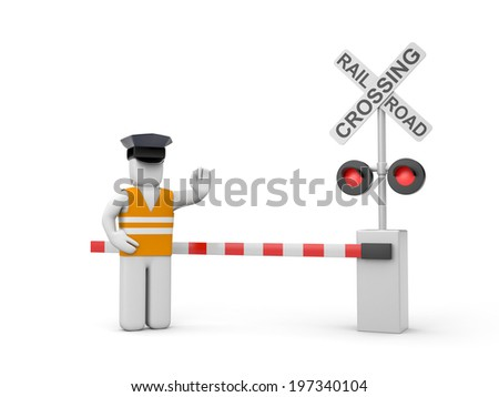 Railroad crossing with worker - stock photo