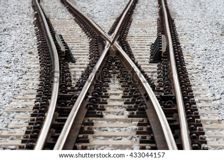 Railroad crossover track.