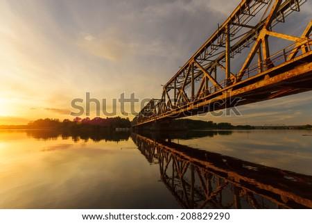 Railroad drawbridge on the Oder - stock photo