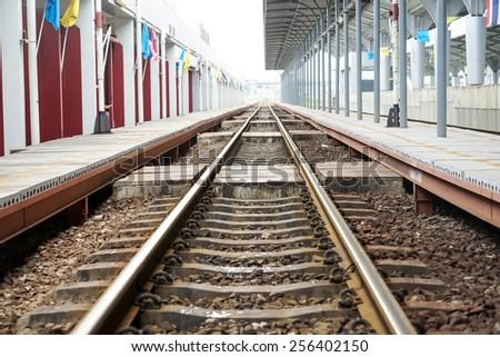 railroad in bangkok, thailand - stock photo