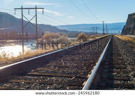 railroad in sunny day, Washington. - stock photo