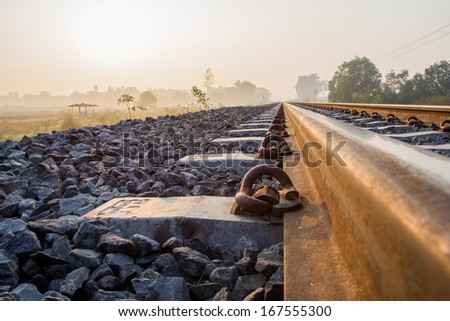 railroad in the morning - stock photo