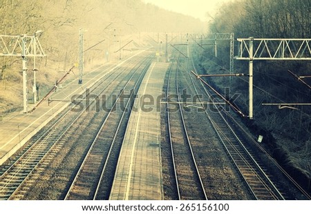 Railroad in vintage style. - stock photo