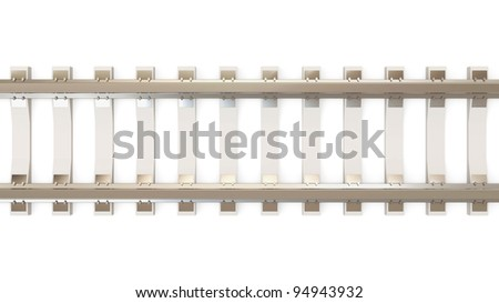 Railroad isolated on white background (Top View) - stock photo