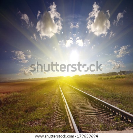 Railroad it to a sunset