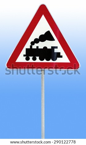 Railroad Level Crossing Sign without barrier or gate ahead the road on rod isolated on blue and white background