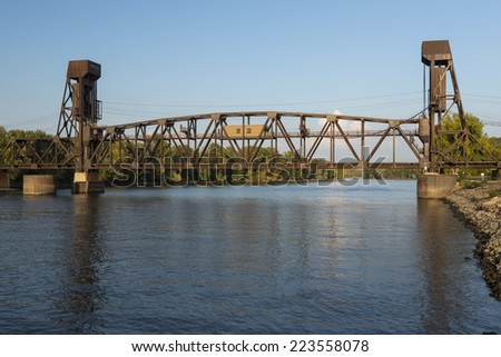 Railroad Lift Bridge - stock photo