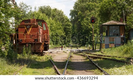 Railroad locomotive - stock photo