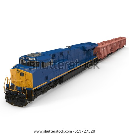 Railroad Locomotive with Hopper Cars on white. 3D illustration