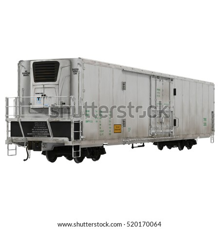 Railroad Refrigerator Car on white. 3D illustration