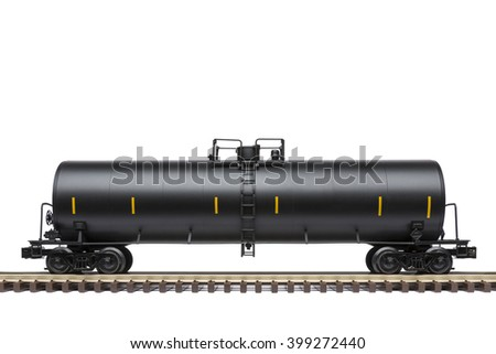Railroad Tank Car On Track - stock photo