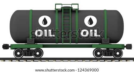 Railroad tank wagon on a white background. - stock photo