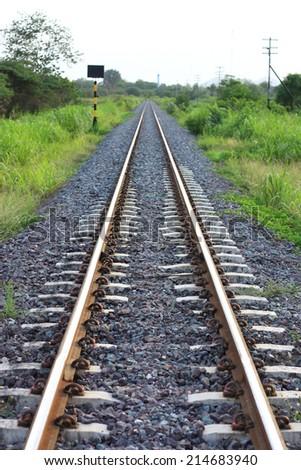 railroad to horizon - stock photo