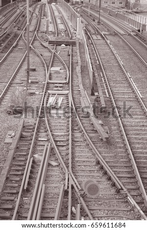 Railroad Track; Centralbron - Central Bridge; Stockholm; Sweden in Black and White Sepia Tone